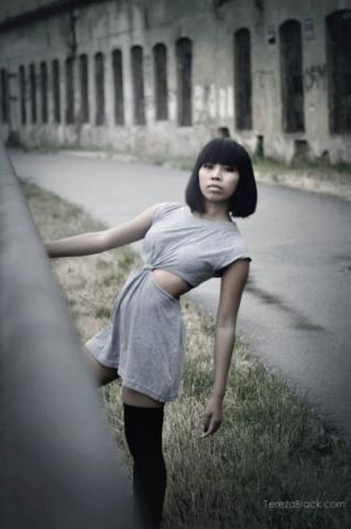 Fashion industrial, grey dress
