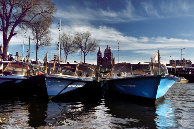 Boats on the canal in Amsterdam