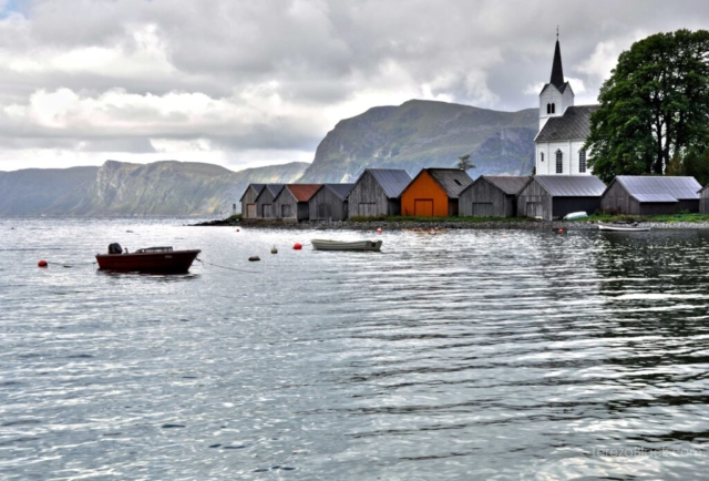 Landscape of Norwegian village by the fjord